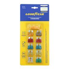 Набор флажковых предохранителей Goodyear «стандарт» 10 шт + экстрактор (5А;7.5А;10А;15А;20А;25А;30А)