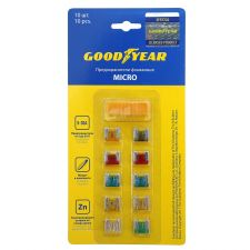 Набор флажковых предохранителей Goodyear «микро» 10 шт + экстрактор  (5А;7.5А;10А;15А;20А;25А;30А)